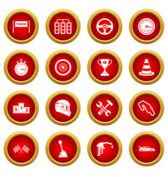 Racing speed icon red circle set vector