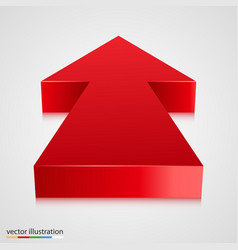 red 3d arrow pointing towards vector image