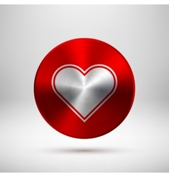 Red Abstract Heart Sign on Metal Texture vector image