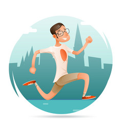 running geek hipster happy sport man character vector image