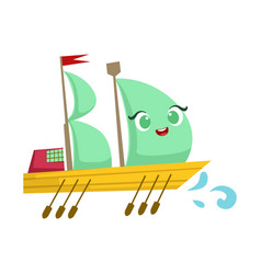 sailing big boat with paddles cute girly toy vector image