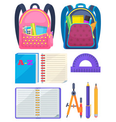 School bag with chancellery office sign vector