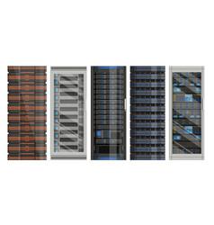 set network servers in flat design vector image