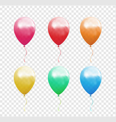set of colorful balloons on the transparent vector image