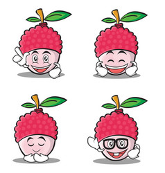 Set of lychee cartoon character style collection vector