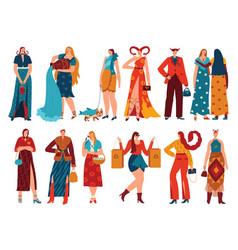 Set zodiac signs horoscope symbols form women vector