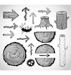 Skethces of wood cuts logs stump and arrows vector