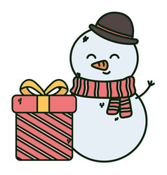 snowman gift box merry christmas vector image
