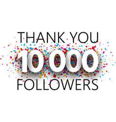Thank you 10000 followers poster with colorful vector