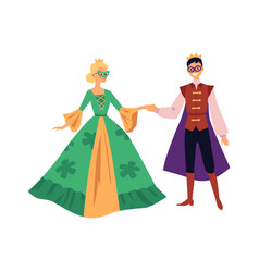 Theater actors man and woman in costumes flat vector
