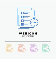 Todo task list check time 5 color line web icon vector