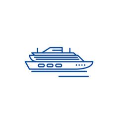 Travel cruise ship line icon concept travel vector
