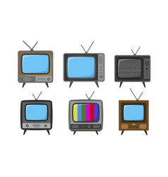 Tv television set of icons broadcast video vector
