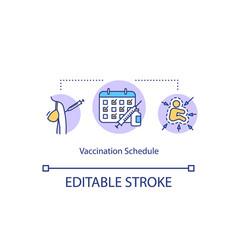 Vaccination schedule concept icon vector