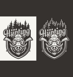 vintage hunting monochrome badge vector image