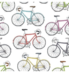 vintage road bicycle seamless pattern hand drawn vector image