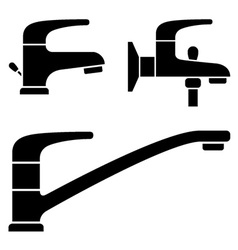 Water tap black symbols vector