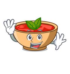 Waving tomato soup character cartoon vector