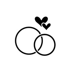 Wedding rings black icon sign on isolated vector