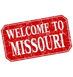Welcome to Missouri red square grunge stamp vector