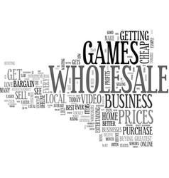 Wholesale video games text word cloud concept vector