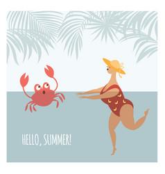 woman in polka-dot swim suit dives vector image
