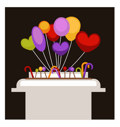 Big stand with colorful balloons and sweet vector
