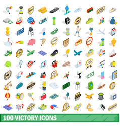 100 victory icons set isometric 3d style vector image