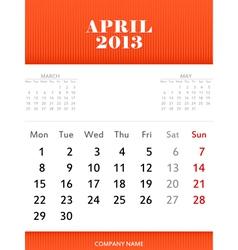 April 2013 calendar design vector image