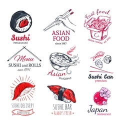 Asian Food Sketch Badges Set vector image vector image