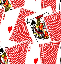 Blackjack cards in a seamless pattern vector