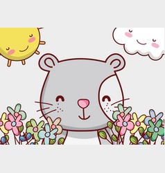 cute cat cartoon face with flowers vector image