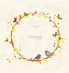 graceful autumn wreath and birds on grunge vector image