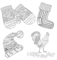 set of the christmas attributes with pattern for vector image