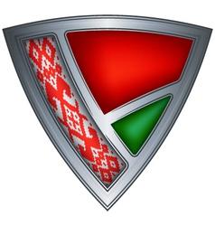 steel shield with flag belarus vector image vector image