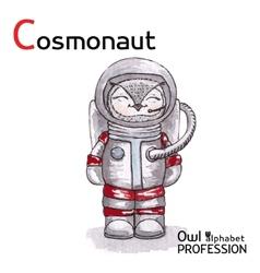 Alphabet professions Owl Letter C - Cosmonaut vector image vector image