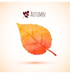 Autumn orange watercolor leaf icon vector image