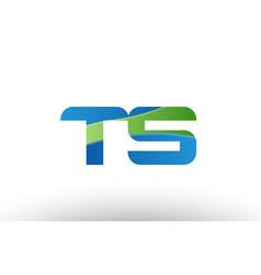 blue green ts t s alphabet letter logo vector image vector image