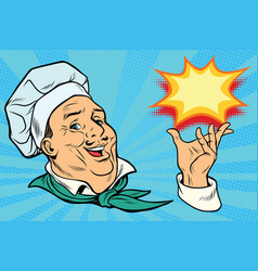 chef holding hand gesture vector image vector image