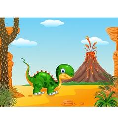 Cute baby dinosaur posing vector image vector image