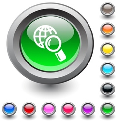 Global search round button vector image vector image