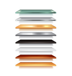 shelves from different materials isolated vector image vector image