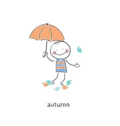 A man under an umbrella vector image