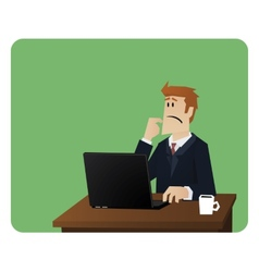 Business man thinking behind computer desk vector image vector image
