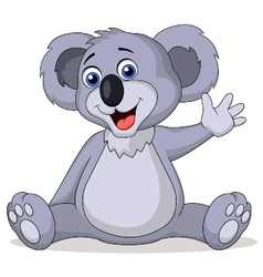 Cute koala cartoon waving hand vector image vector image