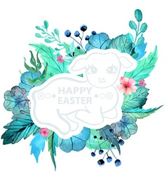 Easter watercolor natural with lamb sticker vector image