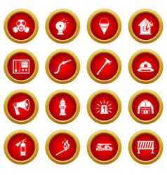 fireman tools icon red circle set vector image vector image