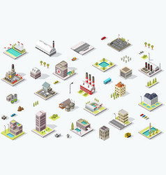 Isometric city map collection vector