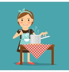 Mother cooking Woman cooking in kitchen vector image