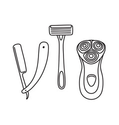 Set of safety open blade and electric razor vector